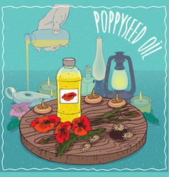 poppyseed oil used as fuel for oil lamp vector image