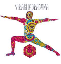 Pose in yoga of virabhadrasana vector
