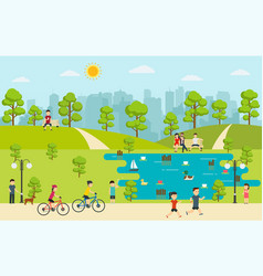 public park with people relaxing in nature vector image