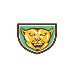 Puma Mountain Lion Head Shield Woodcut vector image