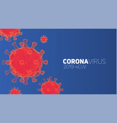 red coronavirus pathogens on a blue vector image
