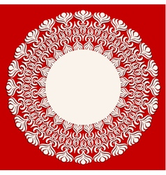 Round beige ornament frame on red background vector
