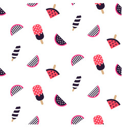 seamless pattern with fruit ice cream and vector image