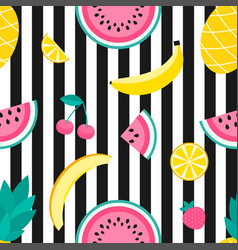 seamless pattern with pineapple lemon melon vector image