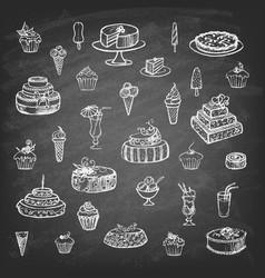 set desserts on chalkboard vector image