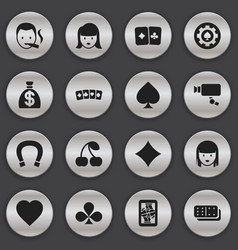 Set of 16 editable casino icons includes symbols vector