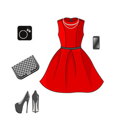 set of fashion clothes red dress shoes clutch and vector image