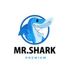 shark thumb up mascot character logo icon vector image