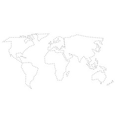 simplified black dashed outline of world map vector image