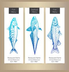 sketch - logo seafood card vector image