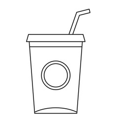 Soft drink cup with straw icon outline style vector