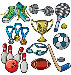 Sports equipment icon set vector