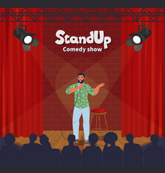 stand up comedy show male comic telling funny vector image