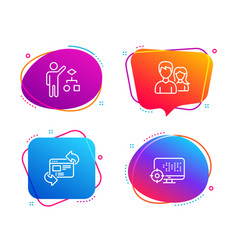 Teamwork algorithm and refresh website icons set vector