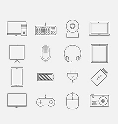 Thin electronic computer device icon set vector