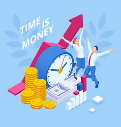 Time is money isometric concept business vector