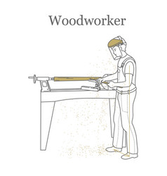 Turner works behind a lathe processes a wooden vector