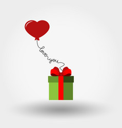 valentine s day gift box and balloon - heart vector image