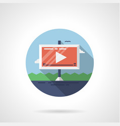 video ads on road flat round icon vector image