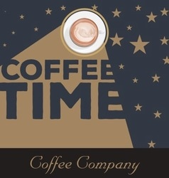 Vintage coffee time background vector image