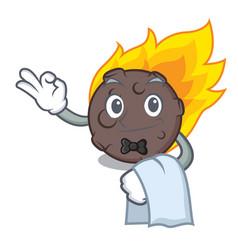 Waiter meteorite mascot cartoon style vector