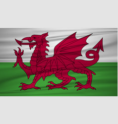 wales flag flag of wales blowig in the wind eps vector image