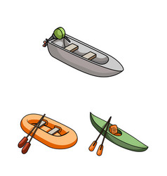Water and sea transport cartoon icons in set vector