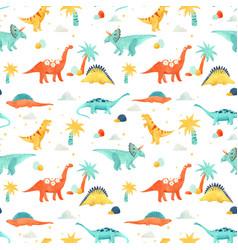Watercolor dinosaur baby pattern vector
