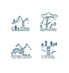 Waterfall and mountain landscape set vector