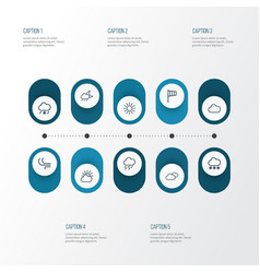 Weather outline icons set collection of breeze vector