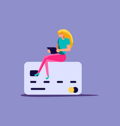 Woman is using credit card vector