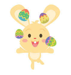 yellow bunny juggling easter egg vector image