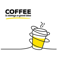 Yellow color takeaway cup coffee with bla vector