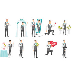 young caucasian groom set vector image