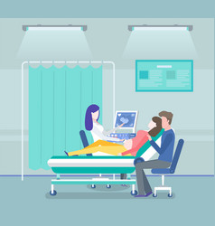 young couple making ultrasound baby doctor vector image