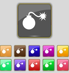 Bomb icon sign set with eleven colored buttons for vector