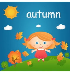 Cartoon of happy little girl in autumn landscape vector image vector image