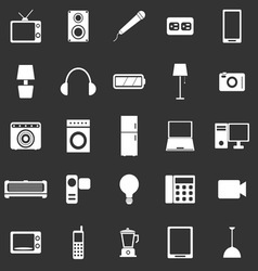Electrical machine icons on black background vector