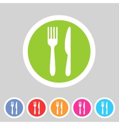 Fork knife flat icon shadow vector image vector image
