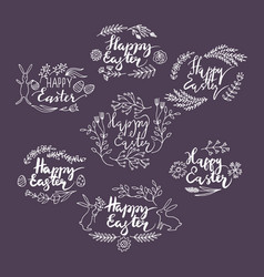 hand-drawn floral frames easter vector image