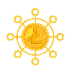 litecoin currency icon design vector image