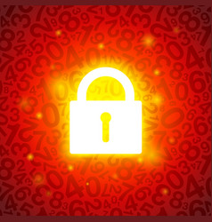 red glowing lock vector image vector image
