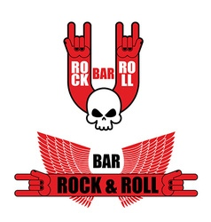 Set of logos for rock and roll bar Hand rock sign vector image
