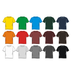 Set t shirt graphic blank colorful vector