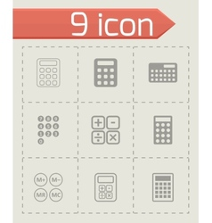 black calculator icon set vector image vector image