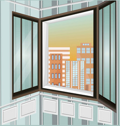 city view through window vector image vector image