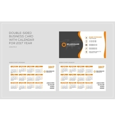 Double-sided business card template with calendar vector image