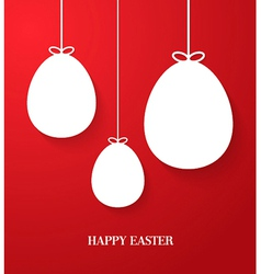 Easter greeting card with hanging paper eggs vector image vector image
