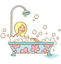 Girl bathroom vector image vector image