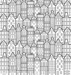 house amsterdam pattern black and white vector image